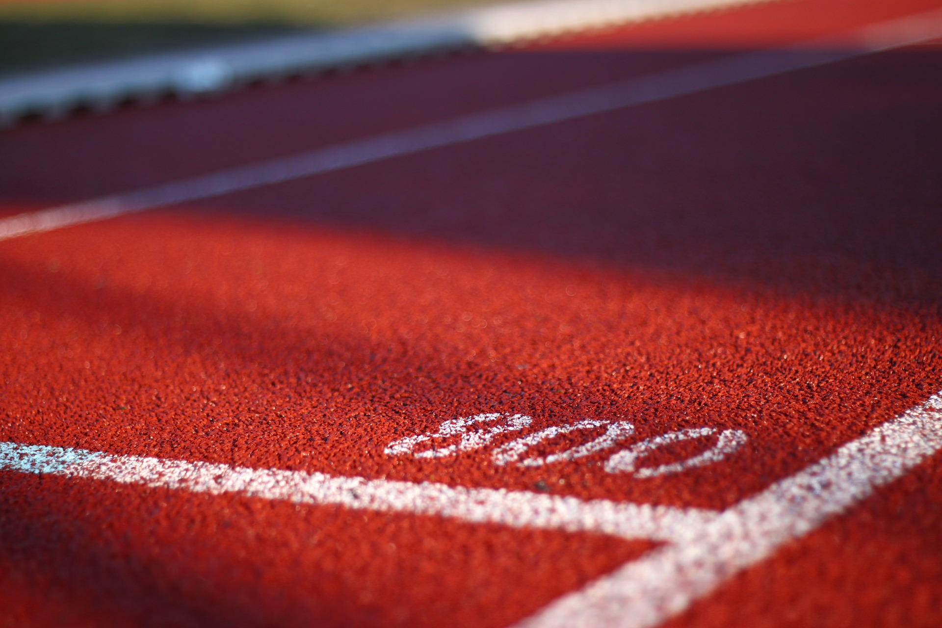 Close-up of a running track